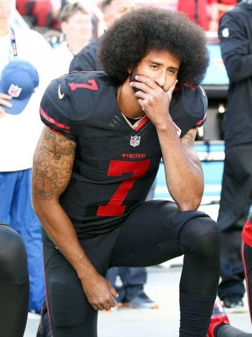 Colin Kaepernick's protest against police brutality is dissent against a security institution meant to protect lives and therefore the protest is a legitimate exercise in promoting human rights.