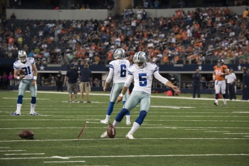 Dallas Cowboys Denver Broncos kickers warm up before an NFL game in AT&T Stadium Arlington, Texas.