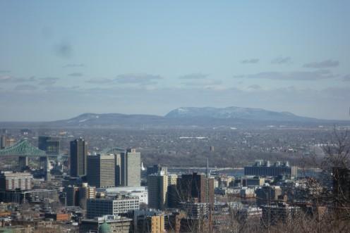 Two Montérégie hills - Mont Saint-Bruno and Mont Saint-Hilaire - seen from Montréal