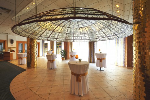 The famous art deco Glass Dome of the hotel
