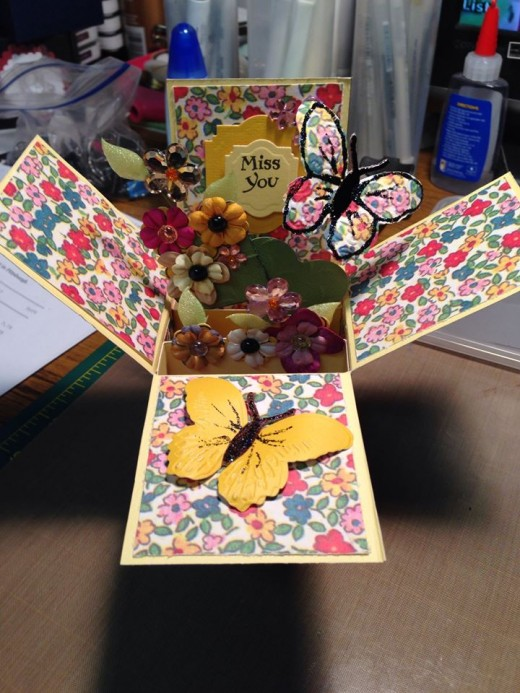 This is a pop-up card embellished with butterflies.