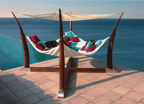 Unique and dramatic cocoon large garden hammock.