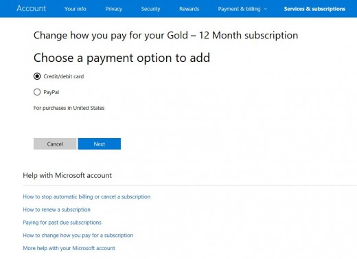"""Choose to pay via a credit or debit card, and then click the blue """"Next"""" button."""