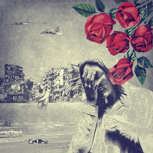 Interpretive artwork of the refugee crisis