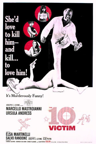 """U.S. Film Poster for """"The 10th Victim""""."""