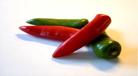 Green and red chilies
