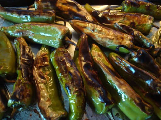 Roasted green chilies, making my mouth water.