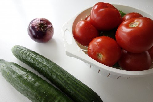 Tomatoes, Cucumber and Red Onion