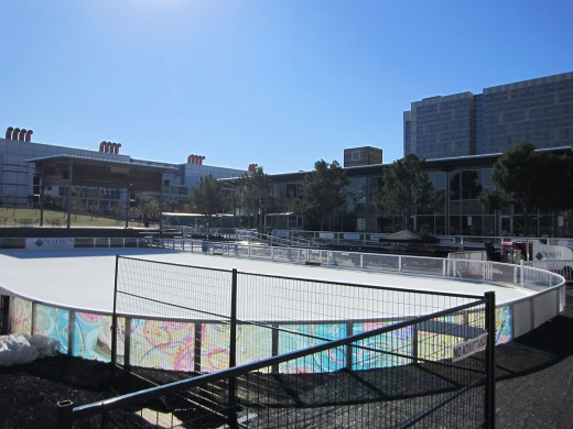 Skating rink at Discovery Green (before the George R. Brown Convention Center) in downtown Houston, Texas in January 2012