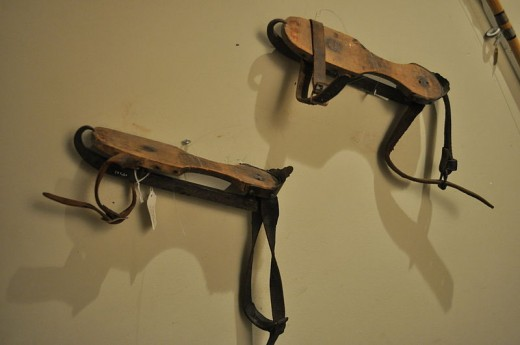 Ice skates, probably first half of 20th century, photographed at Edmonds Historical Museum, Edmonds, Washington, USA.