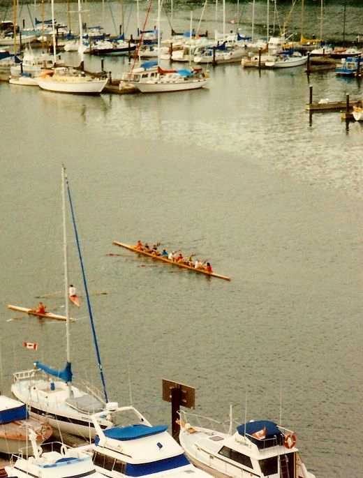 Practicing rowing skills - Vancouver BC scenery from our hotel room