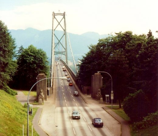 Seen from Stanley Park - Lions Gate Bridge built in 1939 connects Vancouver with North & West Vancouver