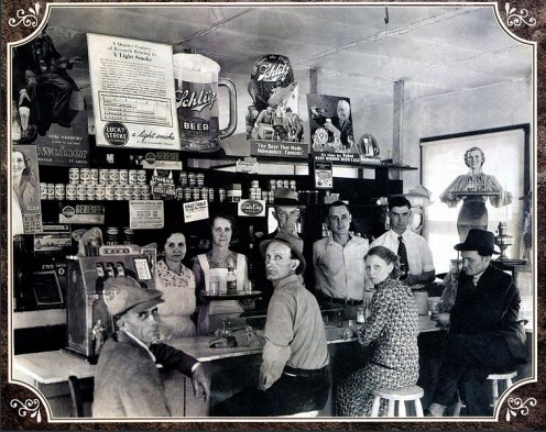 1936 photo of an establishment in Bryston, North Carolina, illustrates the blended shops common in rural areas, especially during the Depression.