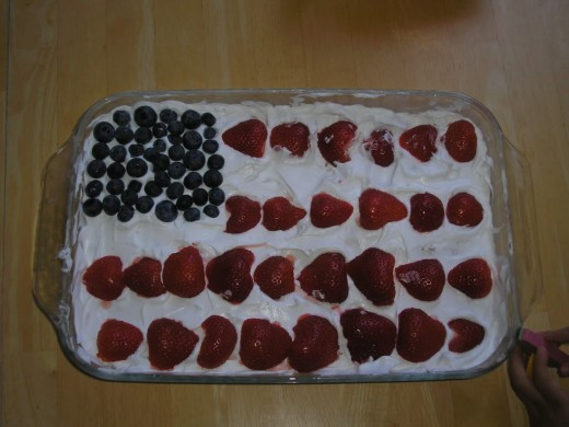 Make a red, white and blue cake.