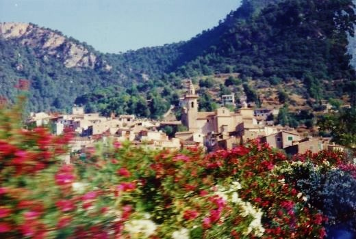 First view of Valldemossa taken from the moving tour bus