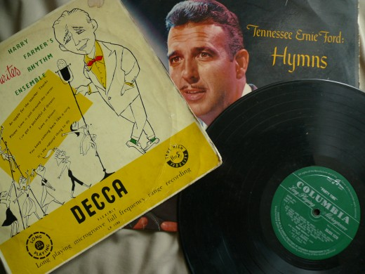 Some of the Long Playing records including Bing Crosby and, Tennessee Ernie Ford.