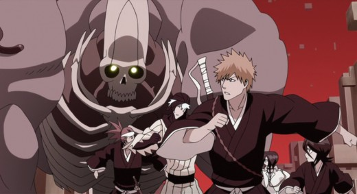 Ichigo, Rukia, Ishida,Renji, and the mysterious stranger from Hell as they are pursued by  a Kushanãda (Hell's Gate Guardians).
