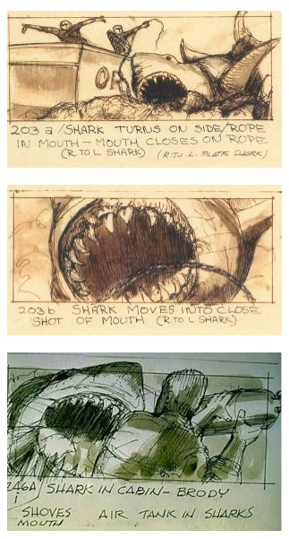 Steven Spielberg's sketches of Jaws (1975)