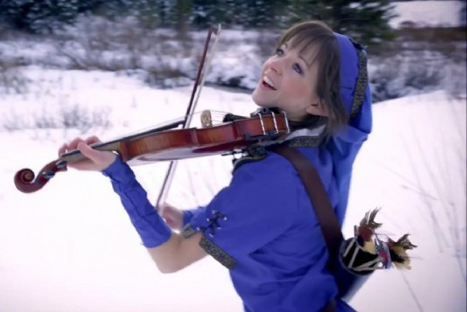 Lindsey Stirling not dressed for the weather. She admitted to be freezing to death, but still nailed the scene.
