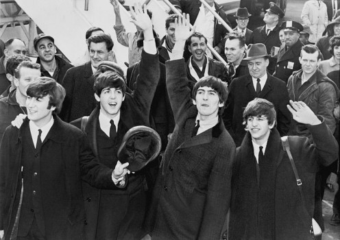 Beatles arrive Feb 7 1964 Kennedy International Airport.