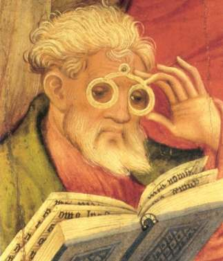 """The ""Glasses Apostle"" painting in the altarpiece of the church of Bad Wildungen, Germany. Painted by Conrad von Soest in 1403, ""Glasses Apostle"" is considered the oldest depiction of eyeglasses north of the Alps."""