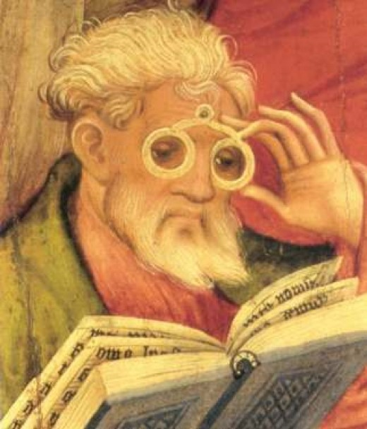 """""""The """"Glasses Apostle"""" painting in the altarpiece of the church of Bad Wildungen, Germany. Painted by Conrad von Soest in 1403, """"Glasses Apostle"""" is considered the oldest depiction of eyeglasses north of the Alps."""""""