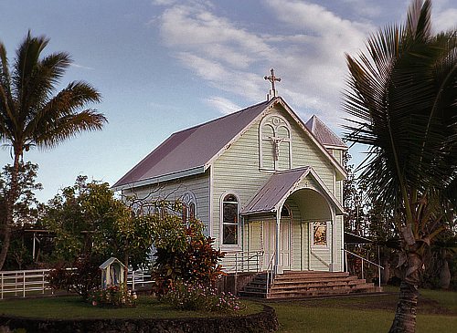 Star of the Sea Church at its current location near the end of Hwy 130 in Kalapana,