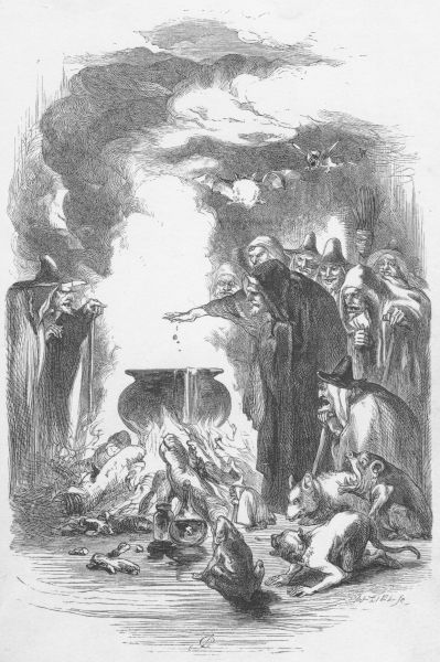 An illustration of the Lancashire Witches casting over a cauldron with their familiars nearby.