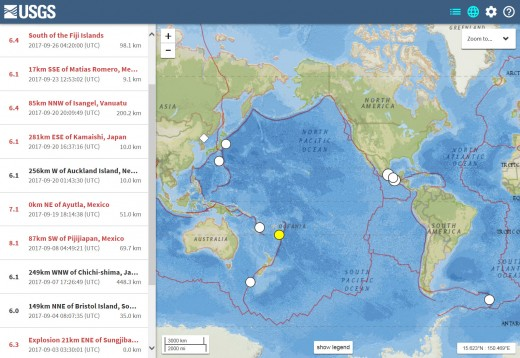 USGS map and listing of M6.1 or larger earthquakes for the month of September 2017 (the one M6.0 quake listed is an underestimation by the USGS and is best rated at least a M6.1 per other reliable sources).