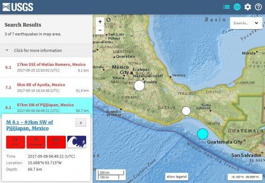 Zoom in on the three significant and deadly earthquakes in Mexico for September 2017. Source=USGS web site.