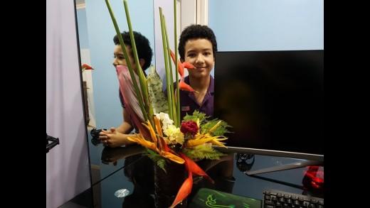 Teen Boy's Unique Flower Arrangement
