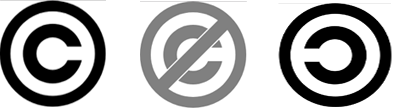 Copyright, Public domain and Copyleft logos