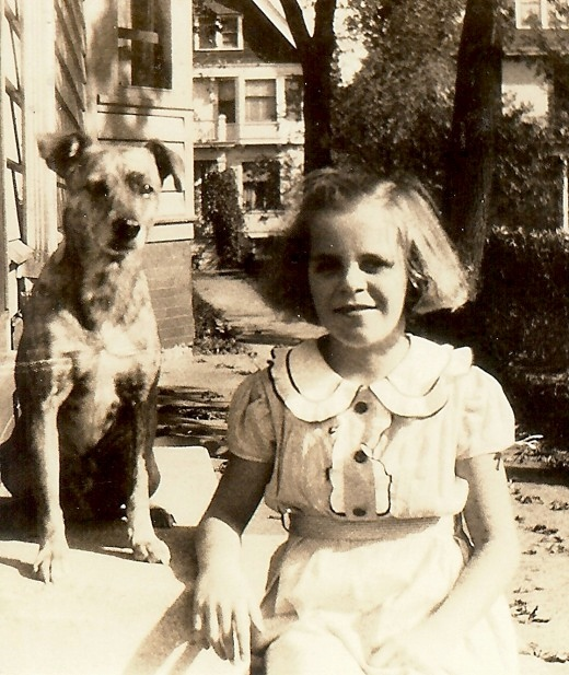 My mother with family dog Jiggs