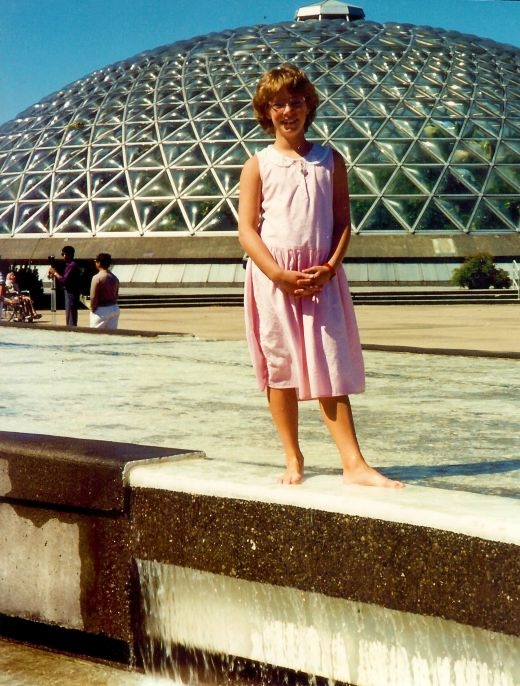 My niece cooling off outside of the Bloedel Conservatory
