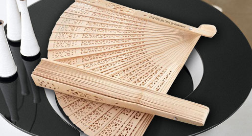 Imprinted Wood Hand Fans w/ Side Print