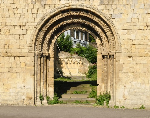 The doorway of the ruined St James's Church in Dover, Kent.