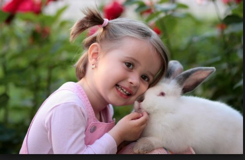 This child is learning love and trust from her rabbit buddy.