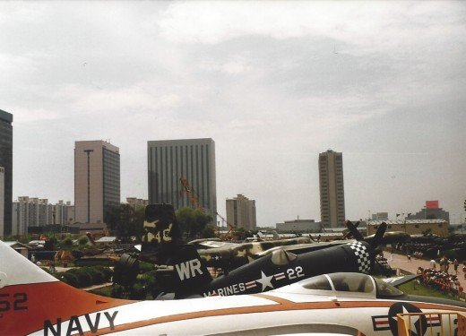 A view of the museum and the surrounding buildings from the cargo bay of the C-124.