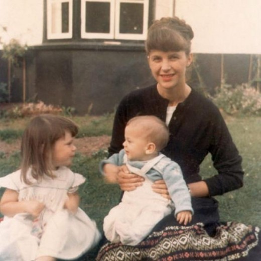 Sylvia Plath with her children, Frieda and Nicholas.