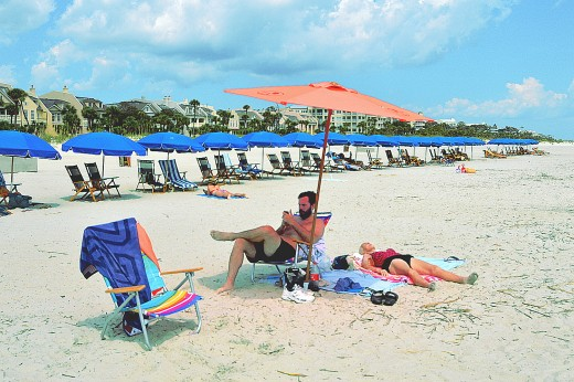 Visitors take full advantage of the Hilton Head beaches during the summer.