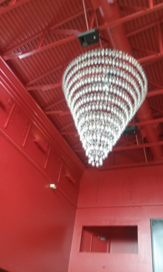 Red Cinemas in Greensboro, North Carolina - A Review. Photo: A beautiful chandelier at Red Cinemas.