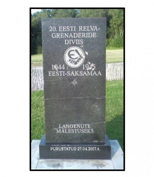The marker for 20th Waffen Grenadier Division of the SS as part of SS memorial at the Sinimae, Estonia.
