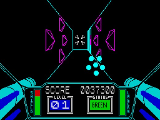 The famous trench run in 3D Starstrike on the ZX Spectrum