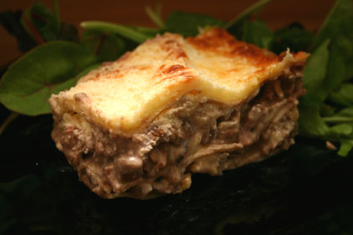 White Lasagna with Chantrelle and Crimini Mushrooms