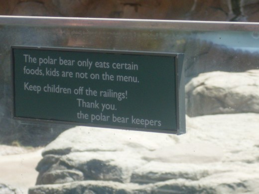 A warning at the polar bear exhibit at North Carolina Zoological Park