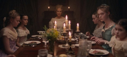 Miss Martha (Nicole Kidman) and the girls as they watch the Corporal eat dinner.