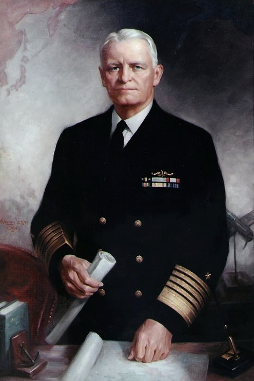 "Fleet Admiral Chester W. Nimitz, USN Oil on canvas, 46.5"" x 30"", by Adrian Lamb, 1960."