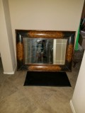 Gorgeous, extra large Burlwood and leather beveled Hall Mirror How much would this be worth?