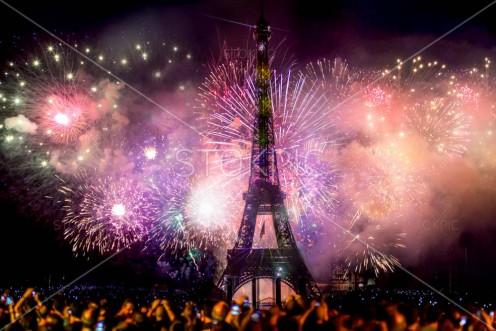 New Year Celebration Fireworks Behind Eiffel Tower