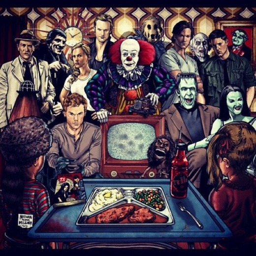 """Horror Movies: Through the Ages"" - image depicting such horror villains as Pennywise the Dancing Clown, Frankenstein, The Strangers (male psychopath) - others unrelated to the post - include Dexter, Supernatural (the blonde haired one), and Buffy..."